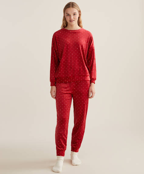 Red polka dot fleece trousers