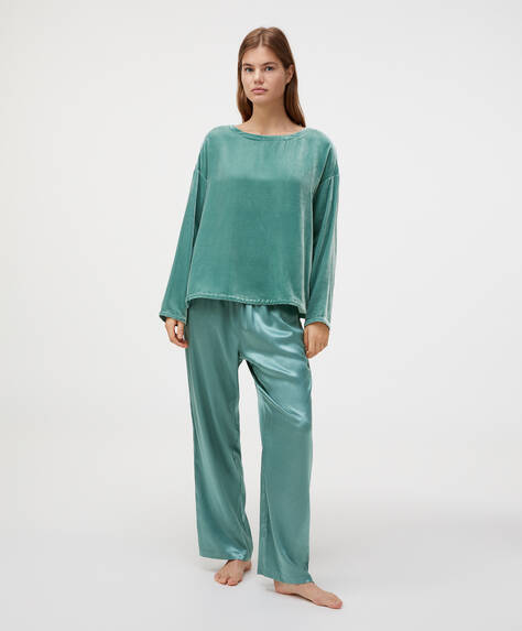 Turquoise satin trousers