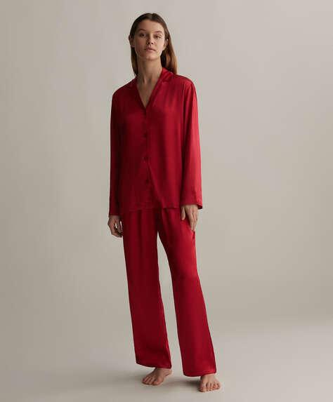 Pantalón satinado rojo