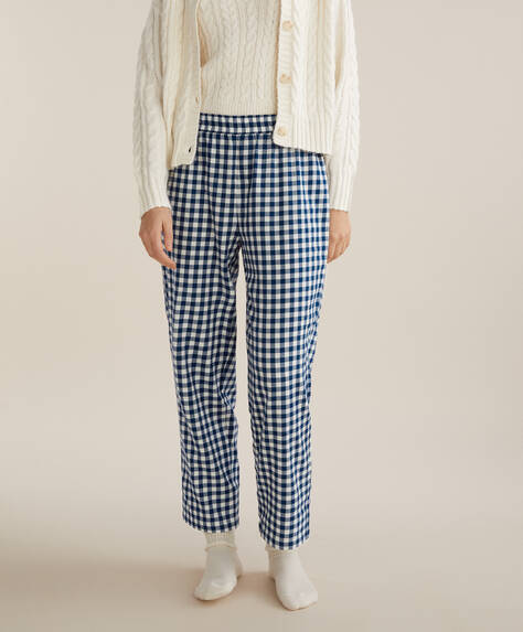 Blue gingham check 100% cotton trousers
