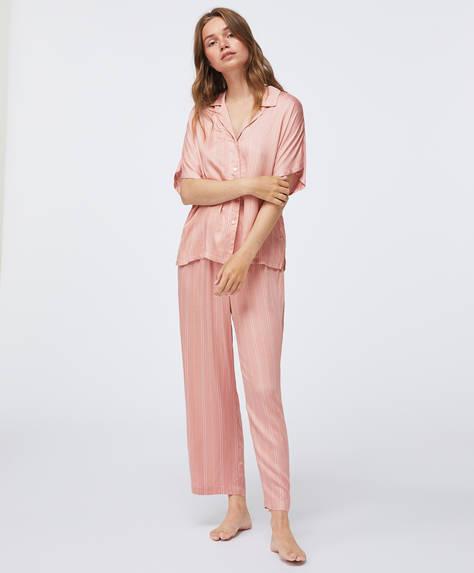 Różowe spodnie w paski