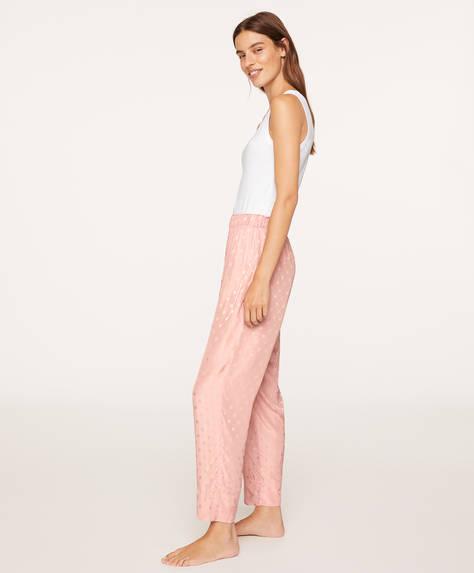 Pink jacquard polka dot trousers