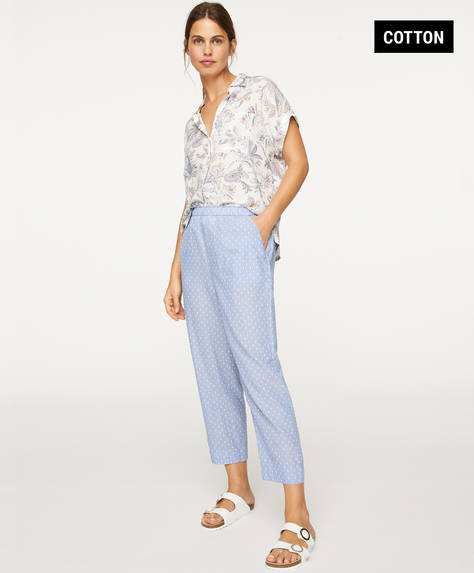 Blue plumeti trousers