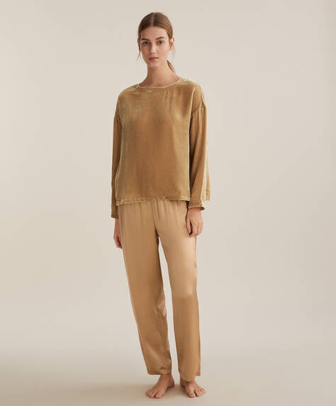 Gold satin trousers