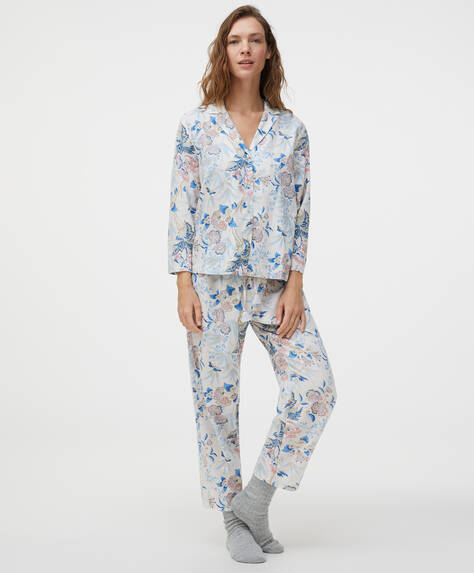 100% cotton floral trousers