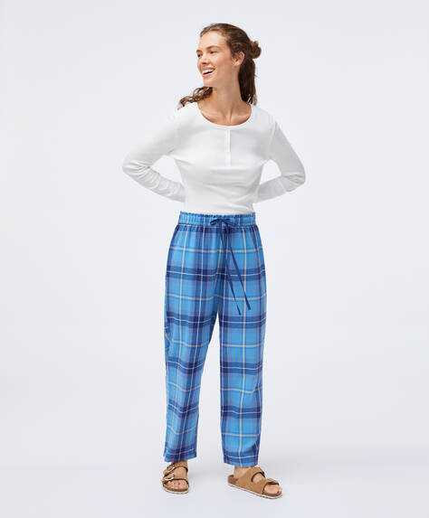 Blue check trousers in 100% cotton
