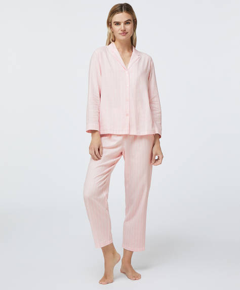 100% cotton pink stripe trousers