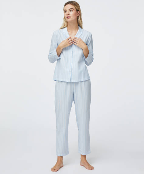 100% cotton stripe trousers