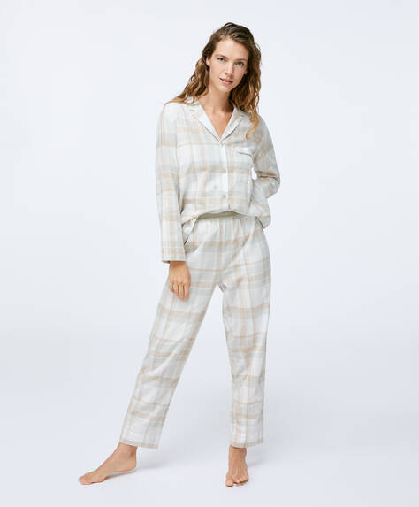 100% cotton grey check trousers