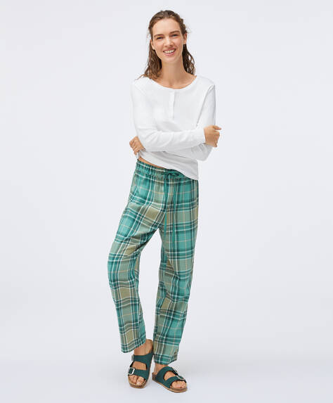 Green check trousers in 100% cotton