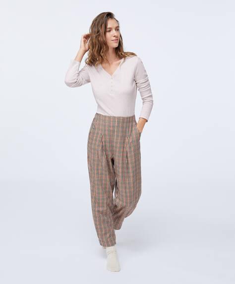 Calças algodão quadrados