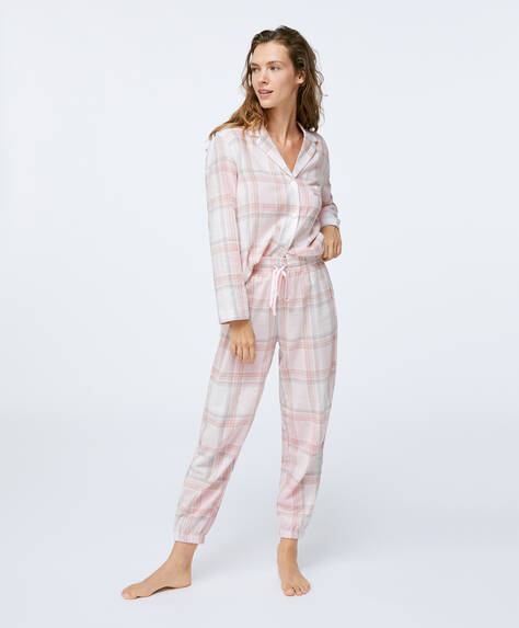 Pink and grey check 100% cotton trousers
