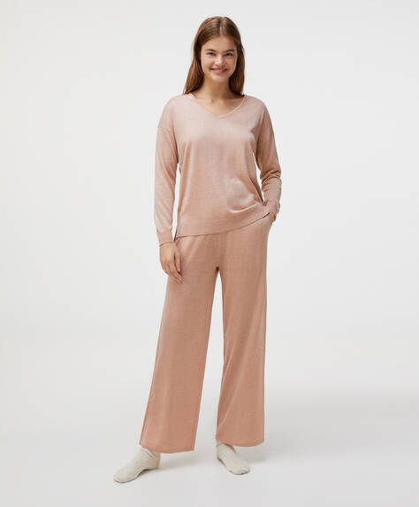 Metallic fine-knit straight trousers