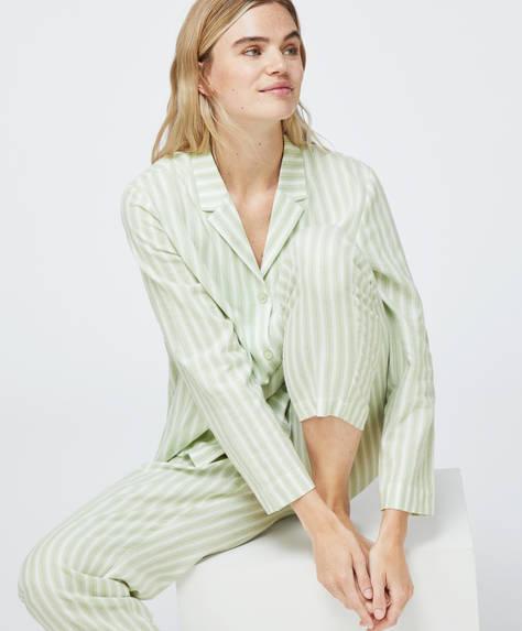 Calça 100% algodão riscas verdes