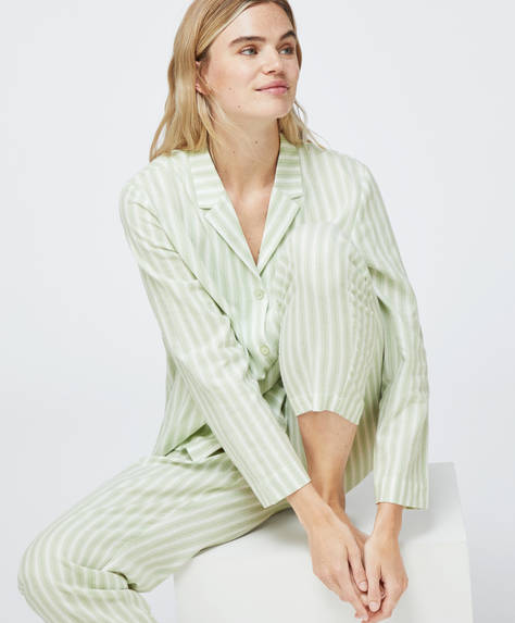 Green stripe 100% cotton trousers