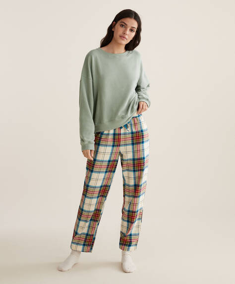 100% cotton red and ecru check trousers