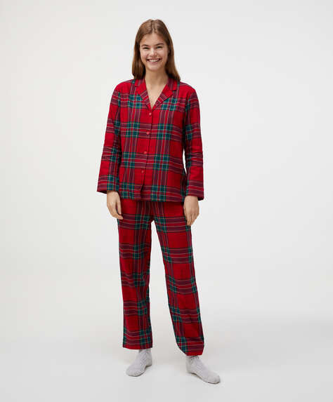 100% cotton red check trousers