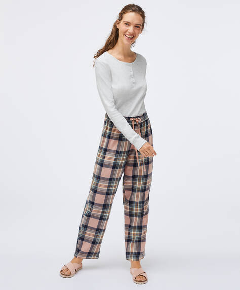 Pink check trousers in 100% cotton