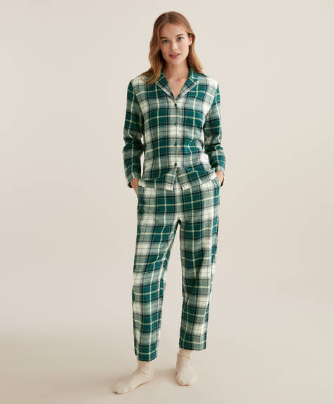 100% cotton green check trousers