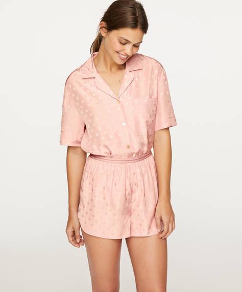Pink jacquard polka dot shorts