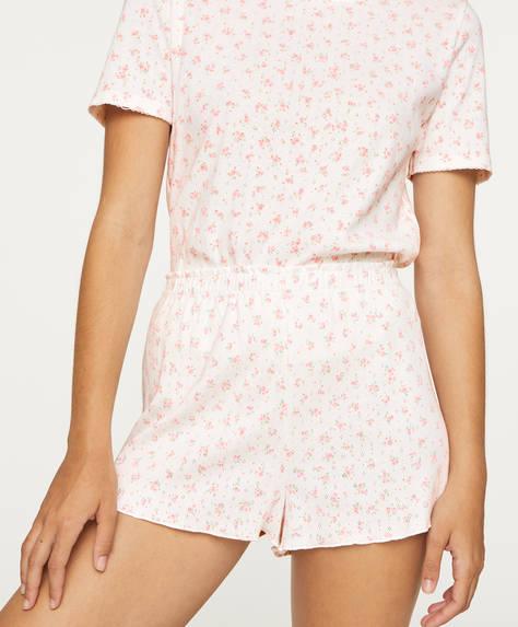 Pantalón corto algodón florecitas
