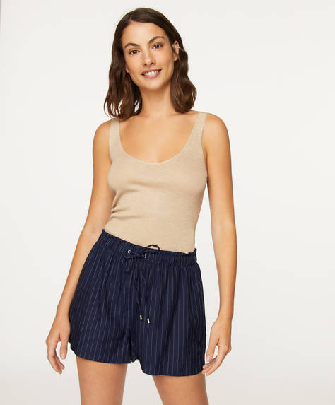 Navy pinstripe shorts