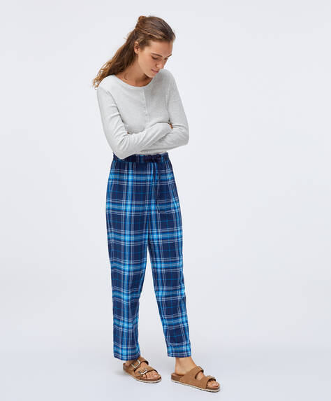 100% cotton check trousers