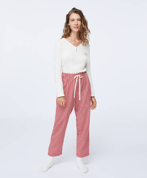 100% cotton red gingham check trousers
