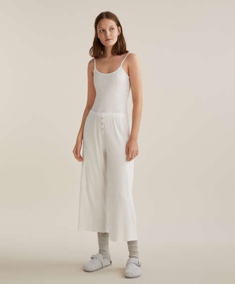 Open knit culotte trousers
