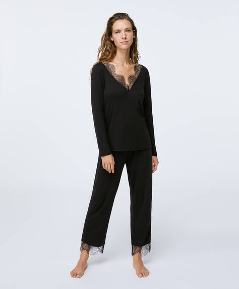 Black lace trim trousers
