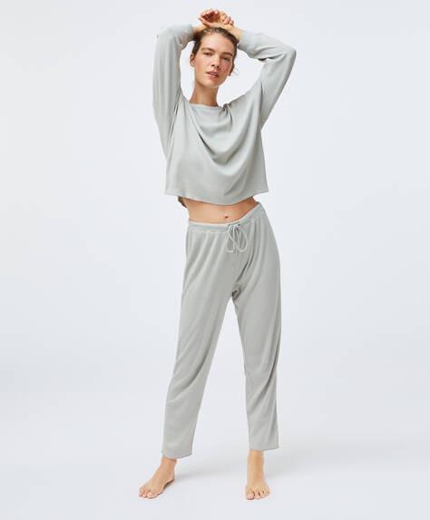 Calças em algodão de cor sólida relax wear