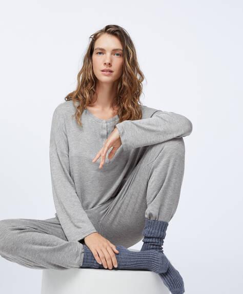 Calças cinzentas relax wear