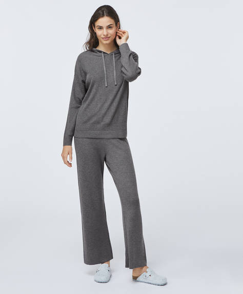 Fine-knit straight leg trousers