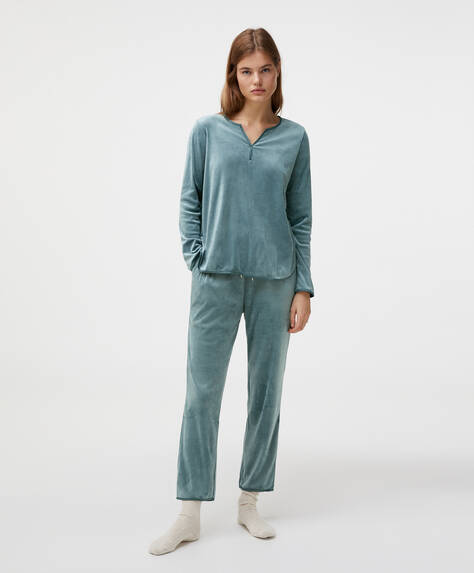 Plain velour fleece trousers