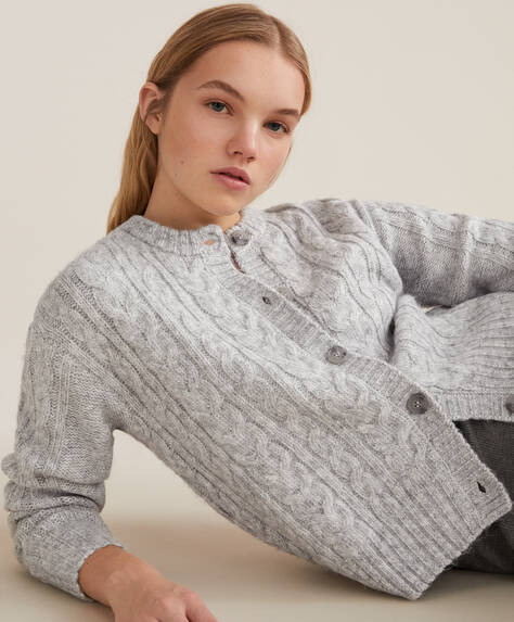 Knit button-through cardigan