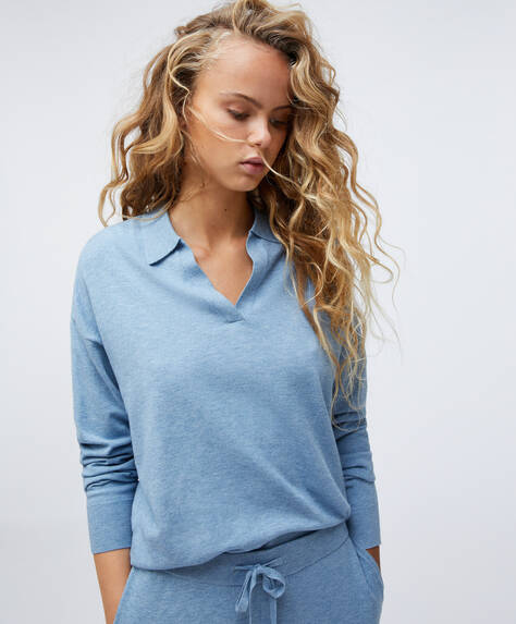 Fine-knit polo jumper