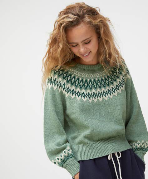 Green jacquard knit jumper