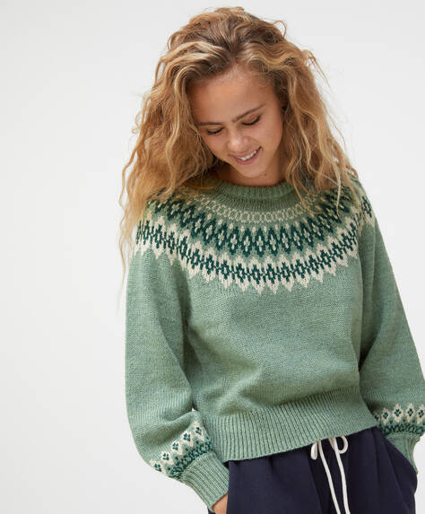 Green jacquard knit jumper