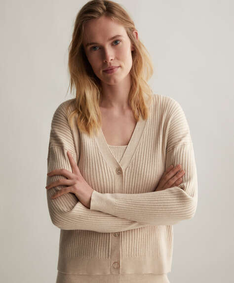 Fine-knit jacket with V-neck