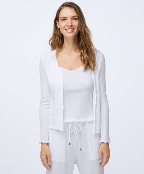 Casaco de algodão de cor sólida relax wear