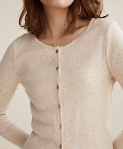 Open knit 100% cotton cardigan