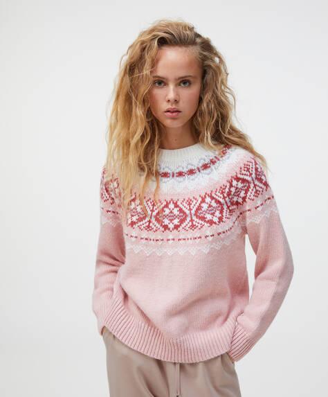 Pull en tricot jacquard rose