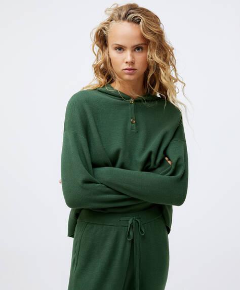 Fine-knit hoodie