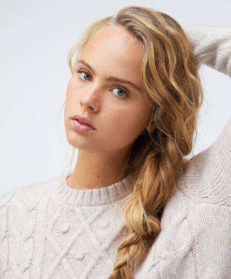 Aran knit jumper with round neck