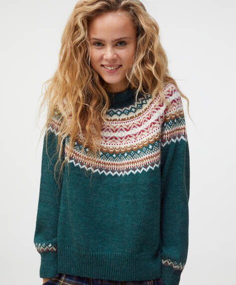 Pull en tricot jacquard vert outremer
