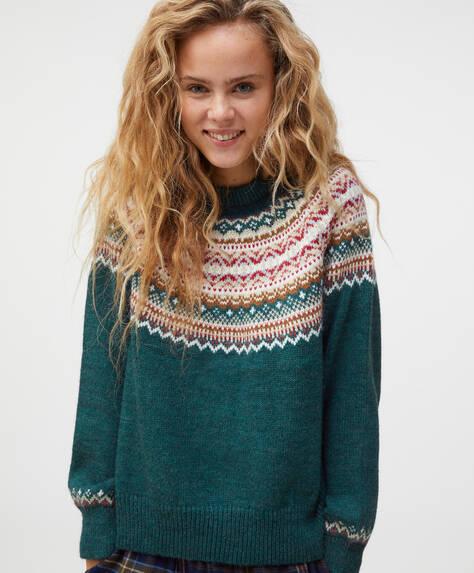 Ultramarine green jacquard knit jumper