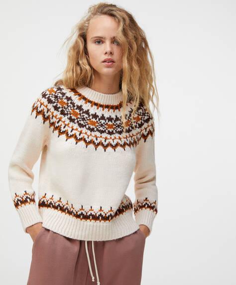 Pull en tricot jacquard beige