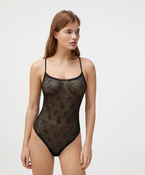 Body med lingeri design i blondestof
