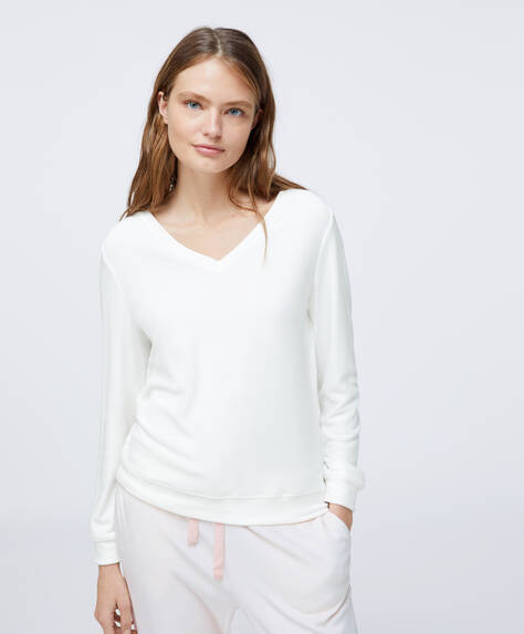 Ecru fleece T-shirt met V-hals