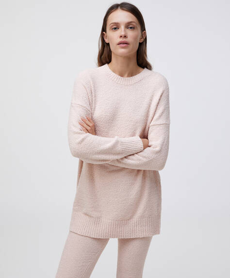 Long extra-soft fleece sweatshirt
